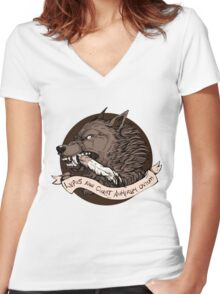 Lupus Brown Women's Fitted V-Neck T-Shirt