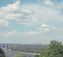 Blue sky over river the Kiev by Tutelarix