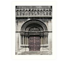 Door of church St Pierre, Lyon Vaise Art Print
