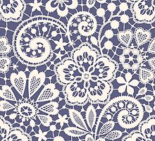 Lace Seamless Pattern. Blue backgrounds. by Laces