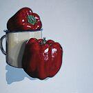 still life with peppers by Marike Kleynscheldt