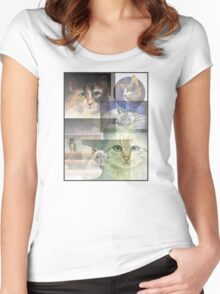 Cat Collage Women's Fitted Scoop T-Shirt