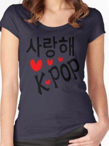 I LOVE KPOP in Korean language txt hearts vector art  Women's Fitted Scoop T-Shirt