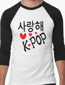 I LOVE KPOP in Korean language txt hearts vector art  Men's Baseball ¾ T-Shirt