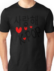 I LOVE KPOP in Korean language txt hearts vector art  Unisex T-Shirt