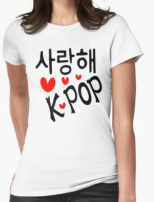 I LOVE KPOP in Korean language txt hearts vector art  Womens Fitted T-Shirt