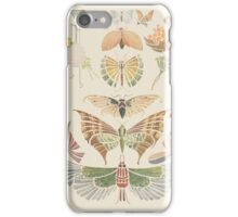 Vintage pink brown floral butterfly pattern iPhone Case/Skin