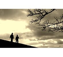 two boys & a tree against the sky Photographic Print