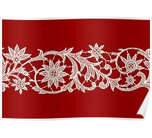 Red Lace, Seamless Pattern, Flowers. Poster