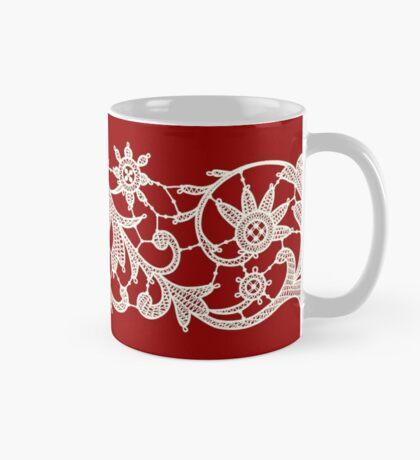 Red Lace, Seamless Pattern, Flowers. Mug