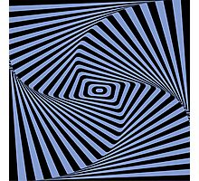 Op-Art Rad Rectangles in Blue Photographic Print