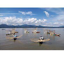 BUTTERFLY NET FISHERMEN - LAKE PATZCUARO Photographic Print