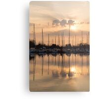 Pale Gold Sunrise With Yachts  Metal Print