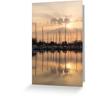 Pale Gold Sunrise With Yachts  Greeting Card