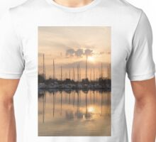 Pale Gold Sunrise With Yachts  Unisex T-Shirt