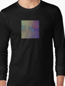 Abstract Art in Bronze, Red, and Aqua Long Sleeve T-Shirt