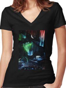 Aurora polaris Women's Fitted V-Neck T-Shirt