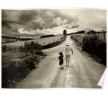 mother and son at the road Poster