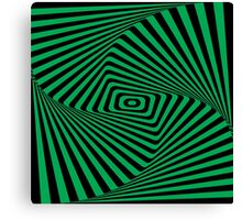 Op-Art Rad Rectangles in Green Canvas Print