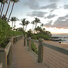 boardwalk and beach at sunset, Wailea, Maui, Hawaii by Christopher Barton