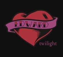 Twilight Edward Tattoo Heart T-Shirt by fifilaroach