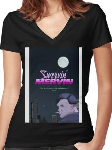 Swervin' Mervin 80s Arcade Racing Game Women's Fitted V-Neck T-Shirt