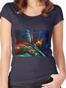 Red and blue light abstraction Women's Fitted Scoop T-Shirt
