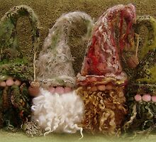 Gnome Group - Handmade needle felted creation from Teddy Bear Orphans by Penny Bonser