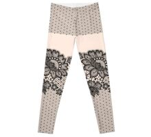 Black lace seamless pattern. Leggings