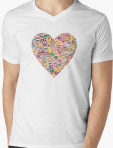 happy emoji pattern Mens V-Neck T-Shirt