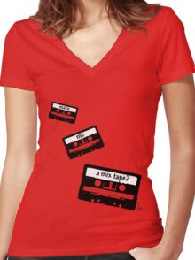 Make me a mix tape? Women's Fitted V-Neck T-Shirt