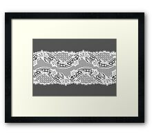 White lace ribbon. Framed Print