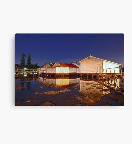 Low Tide At Mosman Bay Boatsheds  Canvas Print