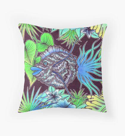Tropical wave fish Throw Pillow