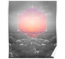The Sun Is But A Morning Star (Mono Geometric Sunrise) Poster