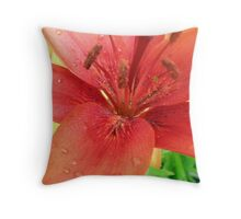 Red Lily up close Throw Pillow