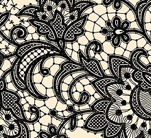 Black Lace, Seamless Pattern, Flowers. by Laces