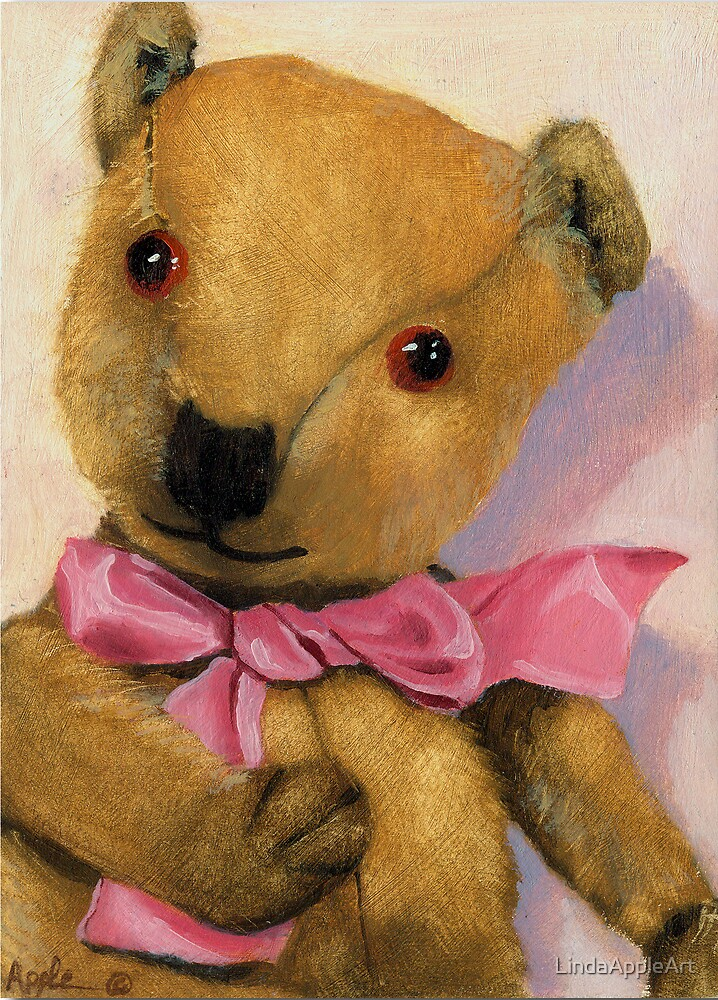 Barney - antique teddy bear portrait by LindaAppleArt