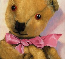Barney - antique teddy bear portrait by LindaAppleArt