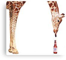 """Licker with Beer"" Giraffe Watercolor Canvas Print"