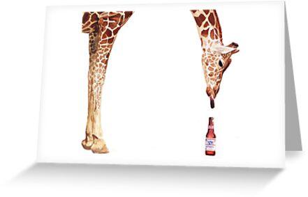 """Licker with Beer"" Giraffe Watercolor by Paul Jackson"