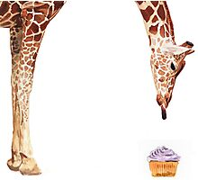 """Licker with Cupcake"" Giraffe Watercolor Photographic Print"