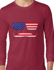 Cool mustache patriot  Long Sleeve T-Shirt