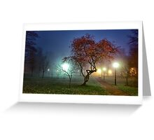 Night fog in the park Greeting Card