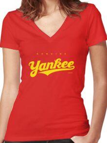 GenuineTee - Yankee (yellow) Women's Fitted V-Neck T-Shirt