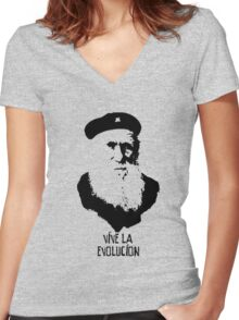 Charles Darwin - Vive la Evolucion! Women's Fitted V-Neck T-Shirt