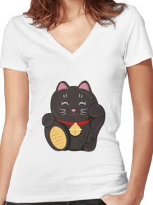 """FortuNEKO - """"Neo"""" Women's Fitted V-Neck T-Shirt"""