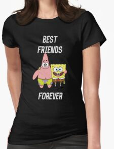 Patrick & Spongebob best friends forever [white text] Womens Fitted T-Shirt
