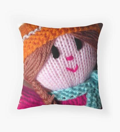 Knitted Doll Throw Pillow