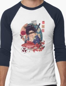 Collage Geisha Samurai in Coral, Indigo and Marsala Men's Baseball ¾ T-Shirt